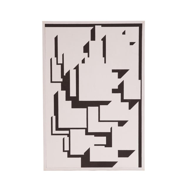 Abstract Patrick Mather Hard-Edge Black and White Acrylic Paintings - a Pair For Sale - Image 3 of 10