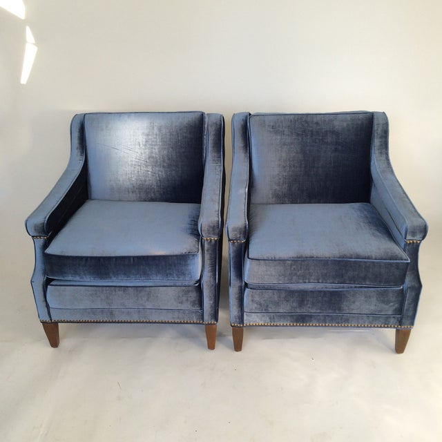 Mid-Century Blue Velvet Club Chairs - A Pair - Image 6 of 10