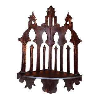 Antique Gothic Victorian Carved Walnut Cathedral Wall Corner Hanging Shelf For Sale