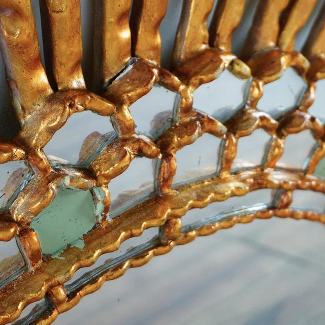 Giltwood Sunburst Mirror With Carved Frame For Sale - Image 4 of 6