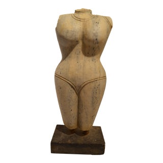 1950s Vintage Art Deco Solid Marble Bust Statue For Sale