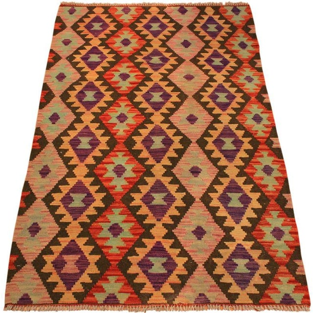 Art Deco Kilim Arya Nephele Rust/Purple Wool Rug -3'4 X 5'0 For Sale - Image 3 of 8