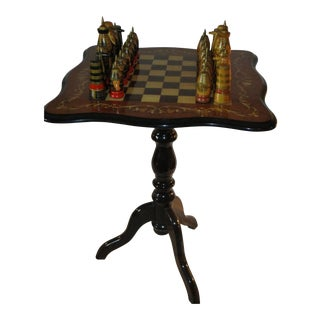 Russian Chess Pieces With Hand-Made Inlaid Wood Chess Table From China. For Sale