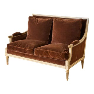 French Louis XVI Style Painted Velvet Settee Canapé For Sale