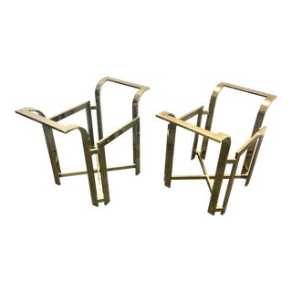 Vintage Hollywood Regency Brass End Tables by Virtue Brothers - a Pair For Sale