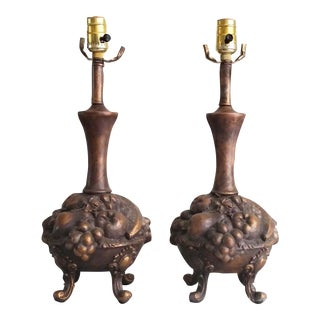 Vintage Bronze Pedestal Footed Fruit Bowl Lamps - A Pair