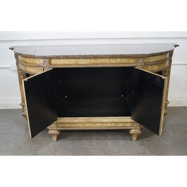 Faux Painted French Style Marble-Top Sideboard with Iron Doors - Image 5 of 10