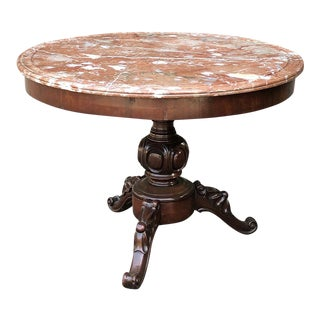 19th Century French Napoleon III Marble Top Center Table For Sale