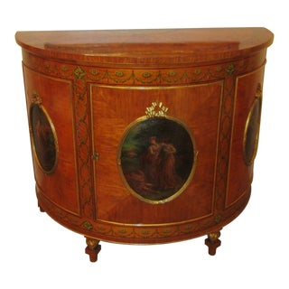 1920s Federal Demilune Cabinet With Hand Painted Scenes & Marquetry For Sale