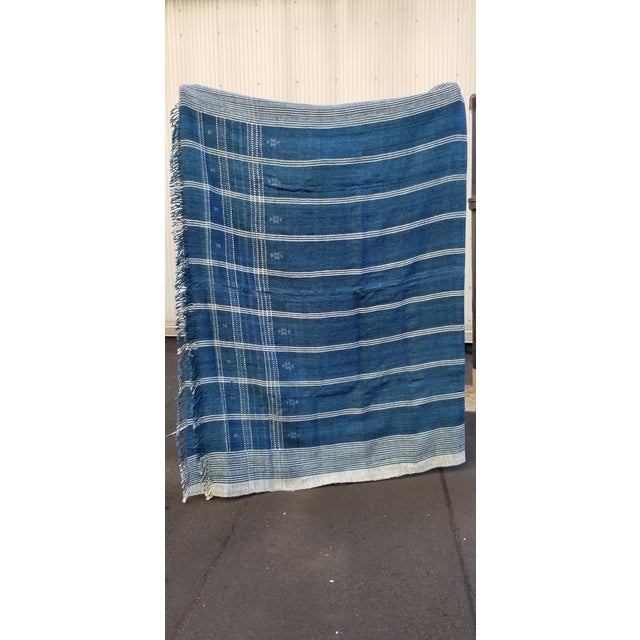 Deep Peacock Blue Throw: Hand woven in Kutch, organic tribal throw. Soft decadent silk and wool throw with geometric...