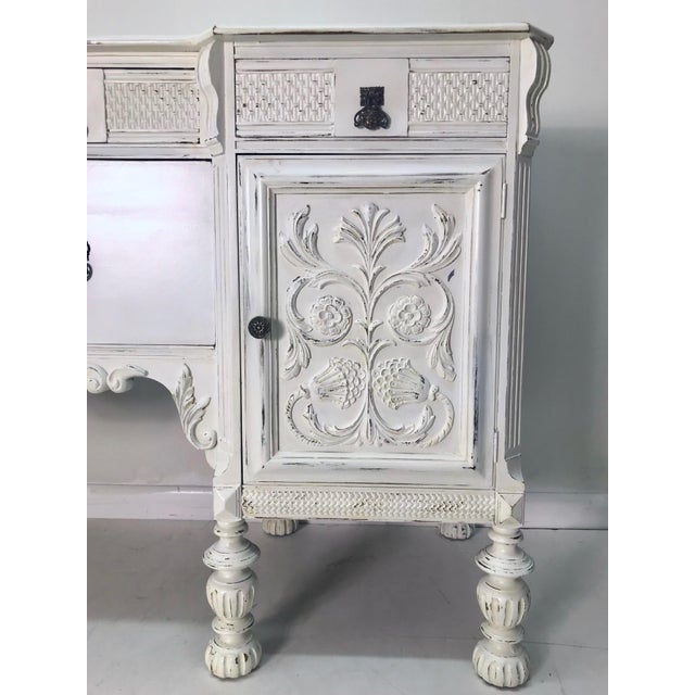 Beautiful White 1900-1930s Carved Buffet. A beautiful and functional piece!
