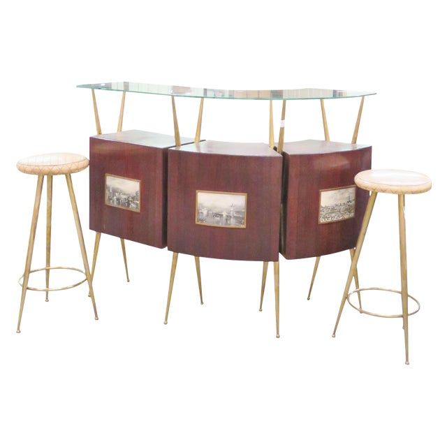 Gio Ponti Style Italian Modern Bar - Set of 4 For Sale