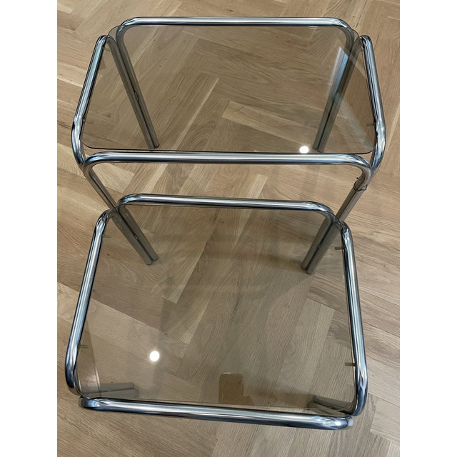 Mid-Century Modern 1970s Chrome and Smoked Glass Nesting Tables - Set of 2 For Sale - Image 3 of 7