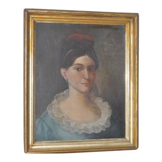 """Circa 1820s """"Cousin Annie's Grandmother"""" American Portrait Oil Painting For Sale"""