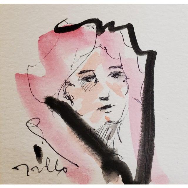 Jose Trujillo Original Minimalist Portrait Modernist Watercolor Painting Signed For Sale