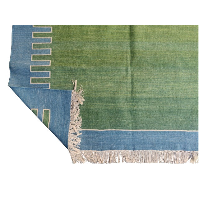 Not Yet Made - Made To Order Handmade Cotton Rug, Green with Blue Geometric Border and Cream Fringe 3'x4' For Sale - Image 5 of 7