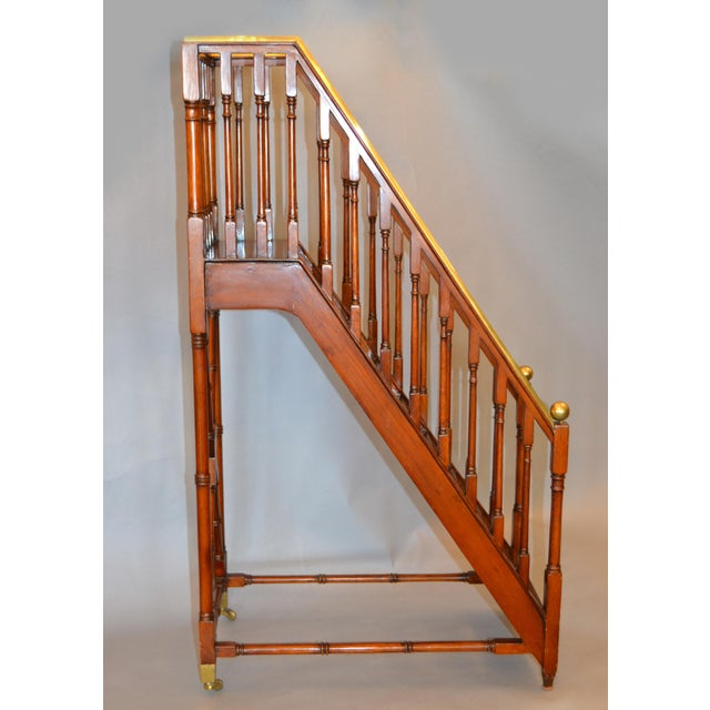 Traditional Architectural Decorative Victorian Walnut & Brass Library Steps, Ladder, Stairs For Sale - Image 3 of 13