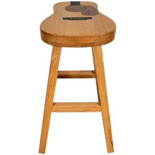 Handcrafted Guitar Shaped Inlaid Stool Exotic Woods by Darrin S. Millard For Sale