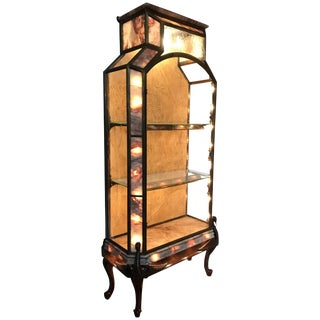 Stunning French Art Deco Bronze Glass & Marble Carved Wood Vitrine-Display Case For Sale