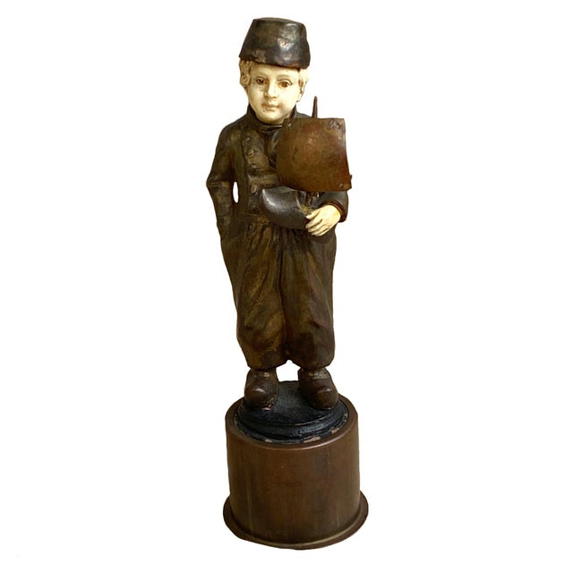 Late 19th Century Bronze Sculpture of Dutch Boy With Sailboat For Sale - Image 4 of 4