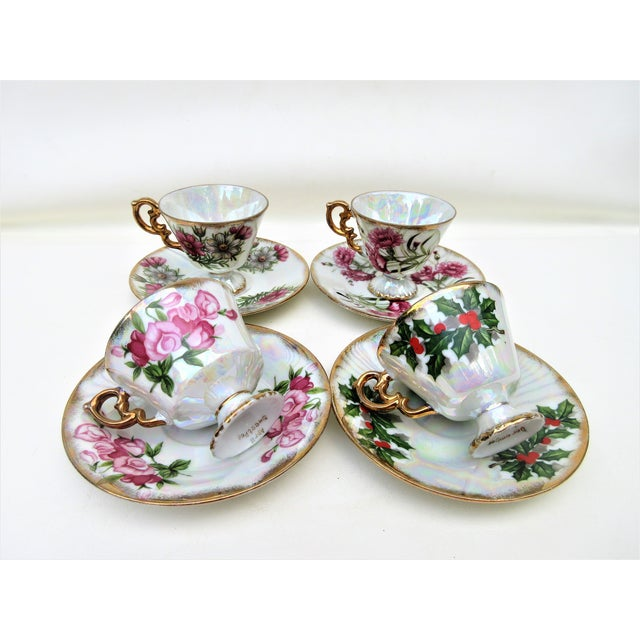 Ceramic 1960s Japanese Lusterware Flower of the Month Demitasse Cups and Saucers - Set of 4 For Sale - Image 7 of 12