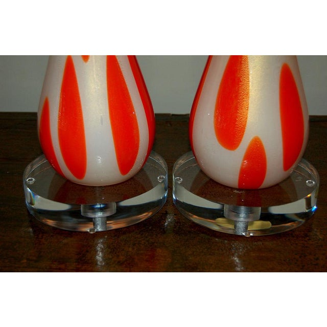 1960s Vintage Murano Glass Table Lamps Orange and White For Sale - Image 5 of 10