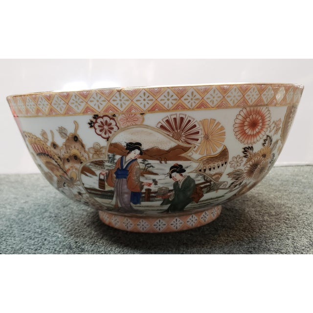 Vintage Circa 1970 Satsuma Style Porcelain Figural, Floral, and Butterfly Motifs Punch Bowl Made in China For Sale In New Orleans - Image 6 of 8