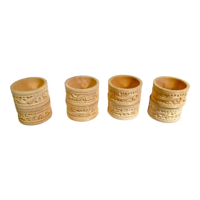 Asian Carved Dragon Motif Napkin Rings - Set of 8 For Sale