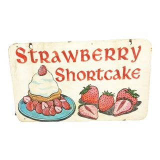 Vintage Hand Painted Double Sided Wood Sign - Strawberry Shortcake