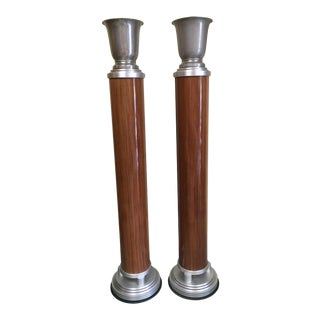 Pair of Grand Art Deco Torchiere Floor Lamps For Sale