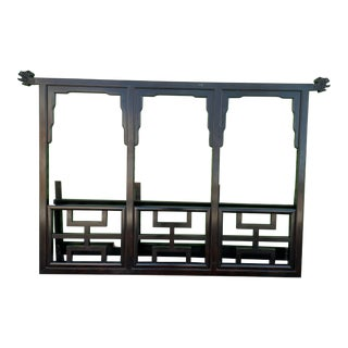 1970s Chinoiserie Century Furniture Black Lacquered King Headboard For Sale
