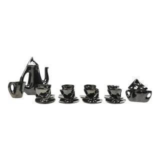 French Vallauris Modernist Ceramic Coffee Tea Service Set - 19 Pieces For Sale