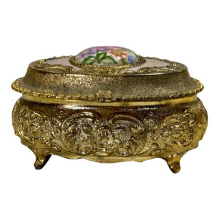 Vintage French Rococo Oval Brass Ornate Porcelain Top Jewelry Trinket Vanity Box For Sale
