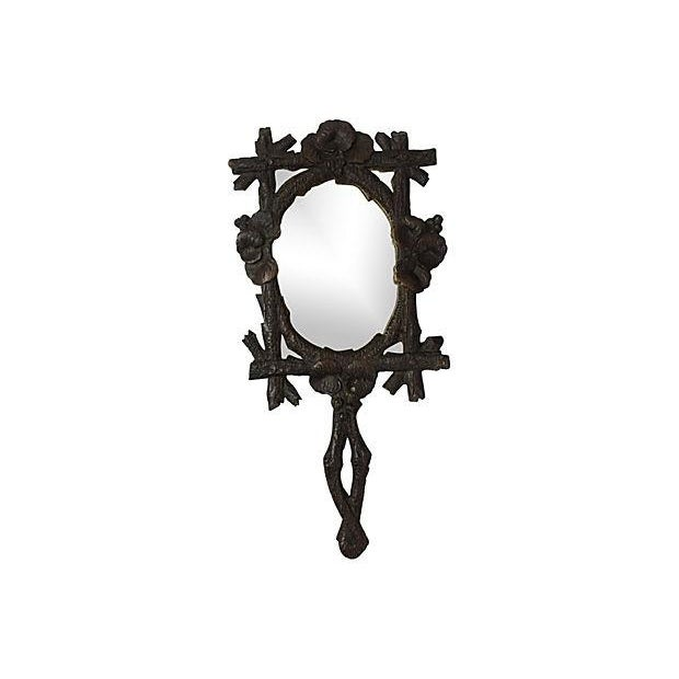 Black Forest Carved Hand Mirror - Image 1 of 3