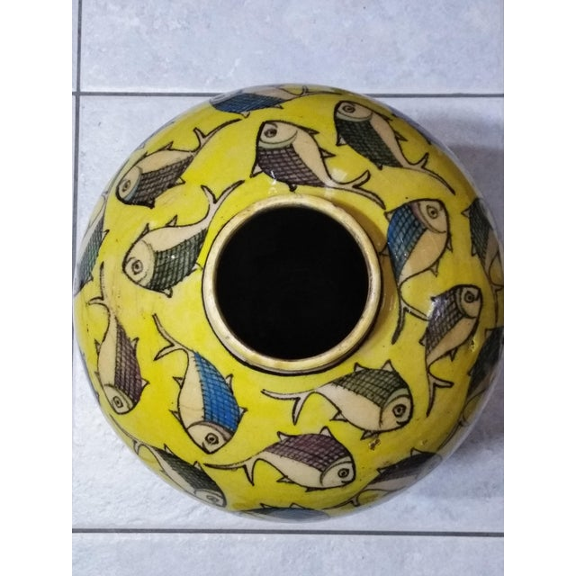 1960s 1960s Contemporary Persian Yellow Ceramic Fish Vase For Sale - Image 5 of 10