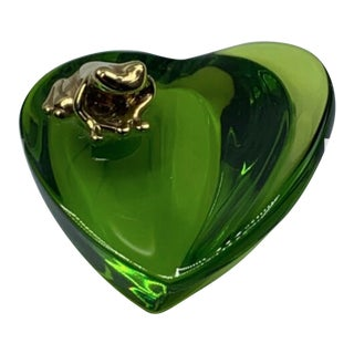 Baccarat Green Crystal Heart with Frog Paperweight For Sale