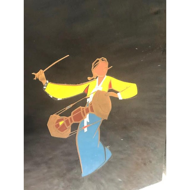 Mid-Century Modern 1940s-50s Lacquered Korean Copper Inlay Enamel Art - A Pair For Sale - Image 3 of 7
