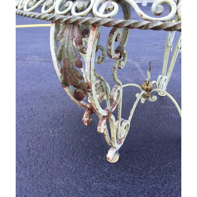 Painted Wrought Iron Marble-Top Coffee Table For Sale In New York - Image 6 of 7