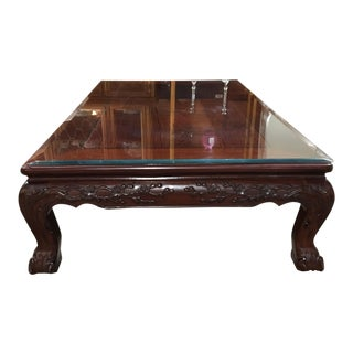 Traditional Carved Rosewood Coffee Table