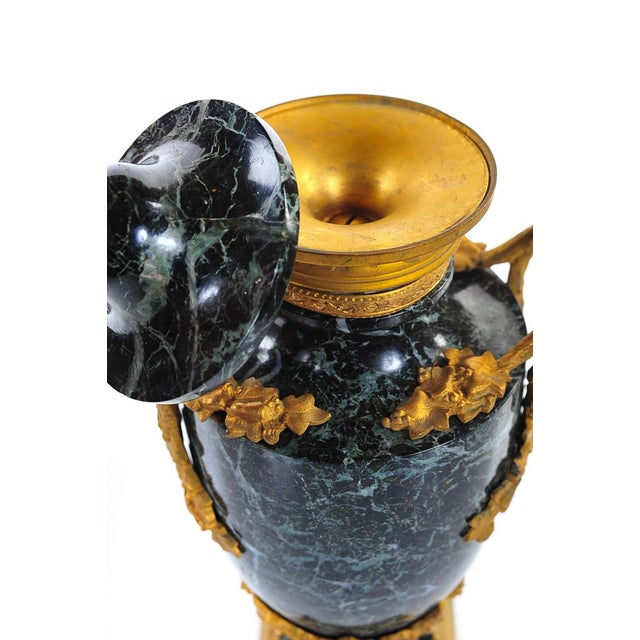 Black 19th C. French Marble Gilt Urns - A Pair For Sale - Image 8 of 9