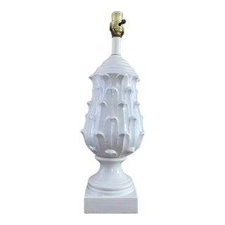 Vintage White Ceramic Acanthus Table Lamp For Sale