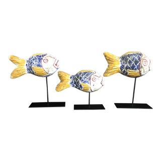 Mid 20th Century Carved Polychrome Fishing Floats - Set of 3 For Sale