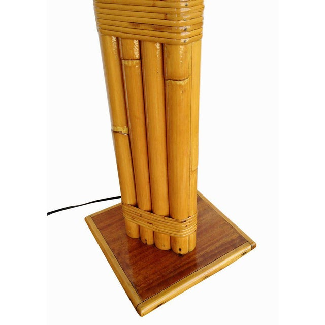 Restored Wrapped Rattan Pole Lamp with Mahogany Base For Sale - Image 5 of 7