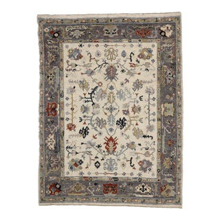 Modern Oushak Style Rug With Calm and Quiet Glam, 09'04 X 12'04 For Sale