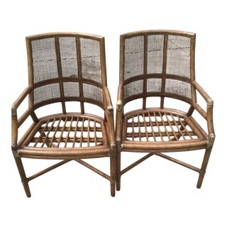 Mid 20th Century McGuire Style Rattan Bamboo Chairs- a Pair For Sale