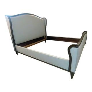 Thomasville Furniture Somerset Pecan King Upholstered Wing Bedrame For Sale