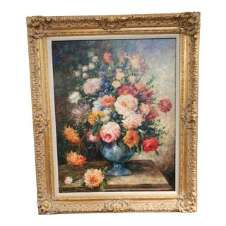 Late 20th Century Kenderick Still Life Floral Oil on Canvas Painting For Sale