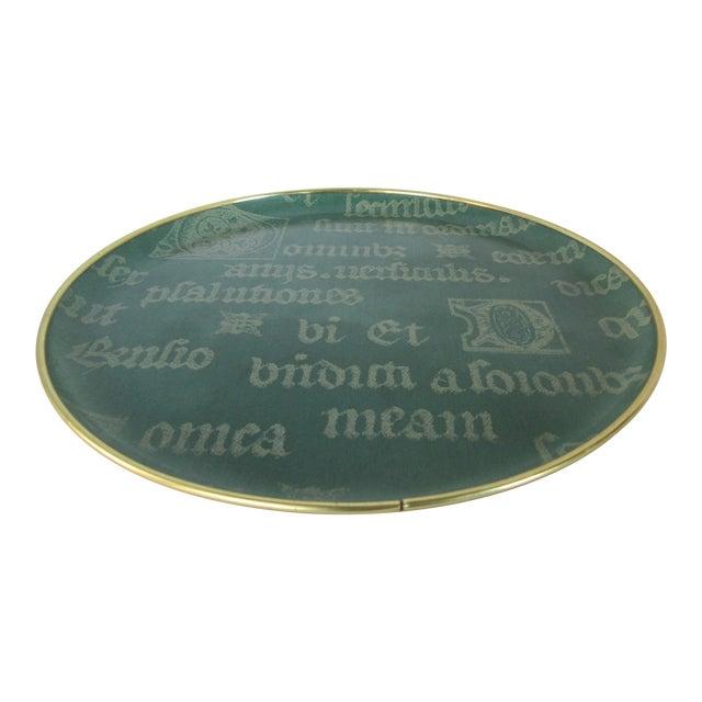 Vintage Decorative Script Tray For Sale