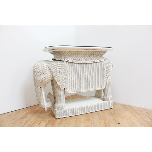 White Wicker Elephant Bar W/ Mirror Top and Hidden Storage For Sale - Image 8 of 9