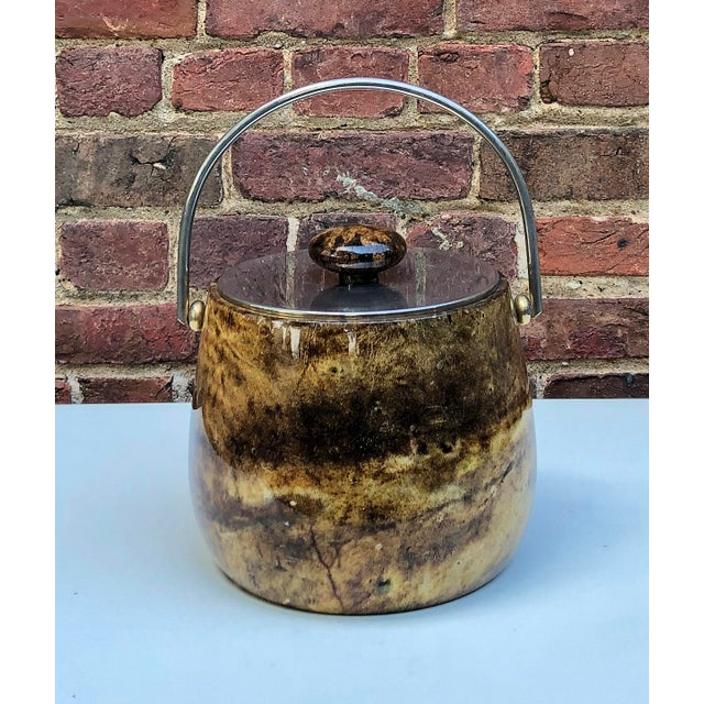 C.1950 Italian Aldo Tura Brown Goatskin and Brass Plate Ice Bucket For Sale - Image 10 of 12